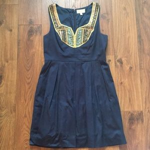 Anthrpology Navy Embroidered Dress Size 12